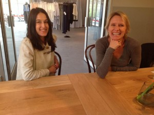 Lesley and Black Betty jeweller Kristin Weixelbaumer in The Service Station's new extension.